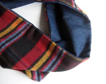 Denim and Plaid Flannel Circle Scarf – Denim, Plaid, Reversible Scarf, Between-Seasons Scarf, Fabric Scarf,  Autumn, Winter, Spring, Uni-Sex