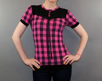 Pink and Black Checker Yoke Blouse Top Punk Goth Shirt