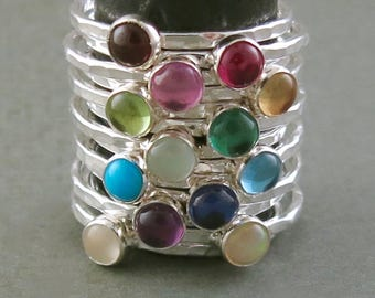 Sterling Silver and Gemstone Birthstone Stacking Rings