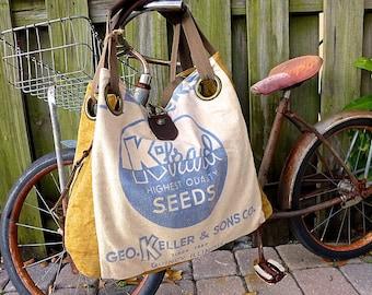 K Brand Seeds- Keller Sons - Quincy Illinois - Open Tote - Americana Upcycle Vintage OOAK Canvas & Leather Tote... Selina Vaughan Studios