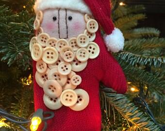 Santa glove ornament with button beard