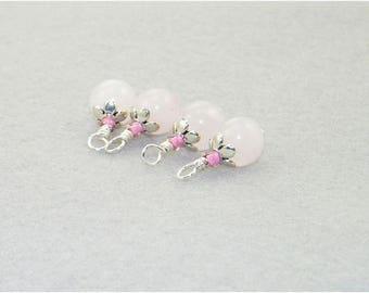 4 Handmade rose quartz gemstone beaded dangle drop charms, Hand wrapped beads for earrings, Charms, Zipper pulls, Bride, Wedding, Gift