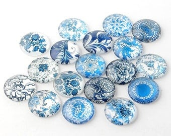 10pcs 16mm Glass Blue and White Floral Printed Dome Cabochon Cameo Cover Cabs GGLA-A002