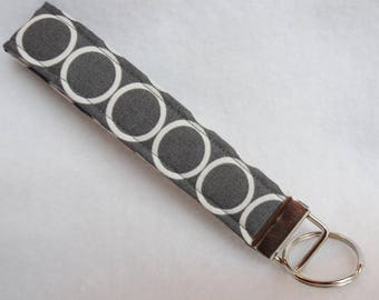 Wristlet Key Fob-Gray Circles
