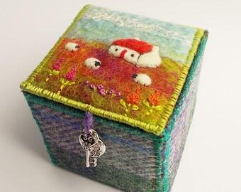 Harris Tweed and Shetland Wool Felt Textile Trinket Box