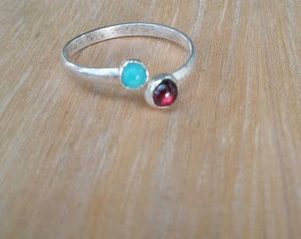 Toe Ring - Garnet and Turquoise  Sterling Toe Ring - Sterling Silver Toe Ring - Gemstone Toe Ring