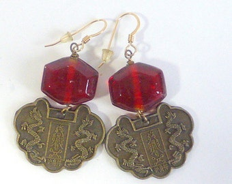 Chinese Coin Zodiac Earrings with Red Glass Beads Asian Inspired Ethnic Boho Zen Astrological Sign Earrings Pierced Earrings Handmade