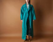 ELLEN TRACY teal cotton trench coat / oversized belted coat / 80s lightweight coat / s / m / 2104o / B22