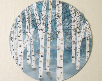 Vinyl record art - Winter Birch Tree painting- original acrylic, Recycled,rustic wall art, woodland forest room decor, Repurposed Art