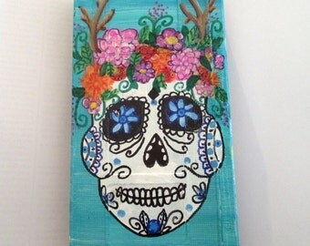 Day of the Dead, sugar skull painting - art on recycled Vhs Tape, gothic wall art, halloween room decor, flower deer horn headdress