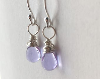 Light Purple Earrings. Small Beaded Earrings. Teardrop Earrings. Sterling Silver Briolette Earrings. Wire Wrapped Earrings. UK Shop