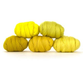 ON SALE Yummy Yellow Merino Variety Pack - 5 Colors - 50 grams per color = 250 Grams or 8.8 oz total to Spin, Felt, Card, Create Fiber Art