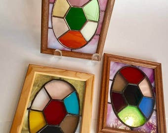 5x7 framed stained glass Emerald Cut pattern by Glass Action