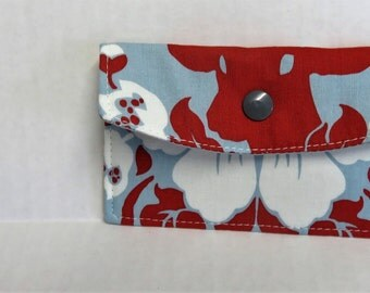Mini Wallet - Gift Card Holder - Debit Credit Card Case -  Business Card Case  - Snap Closure - Red Deer Head on Blue Fabric