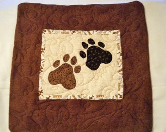 Quilted Dog throw pillow - Double Paw Print brown black