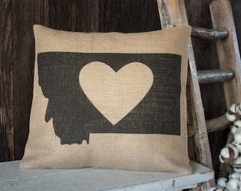 My heart is in Montana burlap throw pillow -