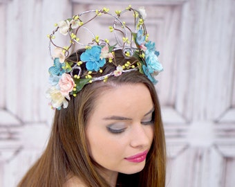 Silver Woodland Crown, Blue and Blush Pink, Woodland Crown, Headdress, Headpiece, Fairy Crown, Elven Crown, Bridal Headpiece, Wedding, Boho