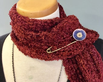 Dark Blue Enameled Scarf Pin, Shawl Pin, Enameled Sweater Pin, Enameled Brooch