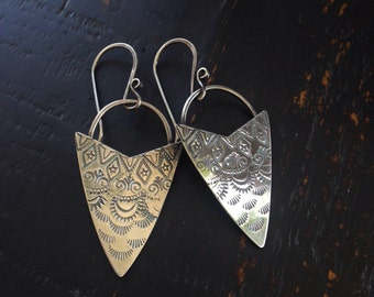 Sterling Patterned Dangle Earrings