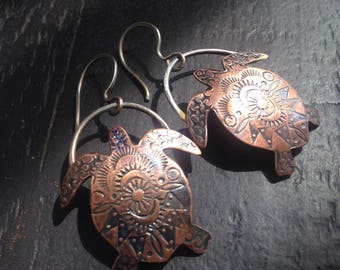 Made to Order Copper Tribal Style Sea Turtle Dangle Earrings