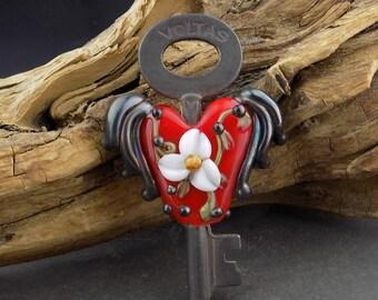 Lampwork Glass Flying Heart Skeleton Key