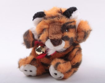 Playful Pals, Tiger, Bell, Collar, Tag, Plush, Small, Vintage, 1990's, Stuffed Animal ~ The Pink Room ~ 170211