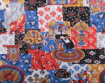 Fabric, Quilt, Home, Kitschy, Rug, Woman, Cabin, Books, Flowers, Red, White, Blue, Black ~ The Pink Room ~ 170203