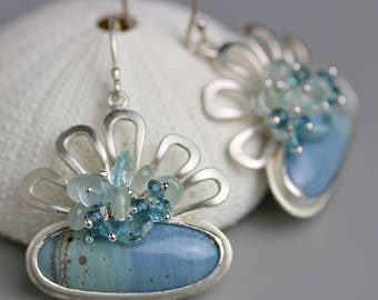 Flower Topped Leland Blue Earrings with Aquamarine and Blue Topaz Clusters