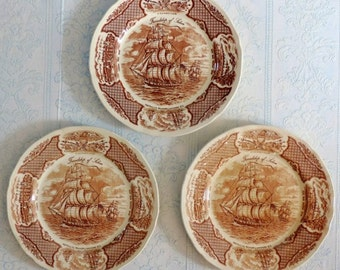Vintage Fairwinds Friendship of Salem Brown Transferware Dinner Plates, French Country Decor,