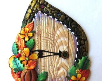 Autumn Fairy Door Polymer Clay Pixie Portal Miniature Door for Fairy Gardens and Home