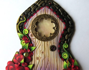 Rose Garden Fancy Window Fairy Door Pixie Portal Polymer Clay Miniature Door for Fairy Gardens and Home