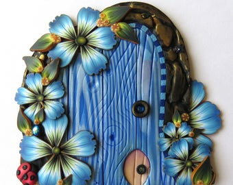 Blue Fairy Door with a Pet Door by Claybykim Polymer Clay Miniature Fairy Gardens and Home