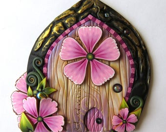 Pink Blossom Fairy Door with a Pet Door by Claybykim Polymer Clay Miniature Fairy Gardens and Home