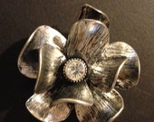 Magnetic Brooch, Silver Flower with Rhinestone Center