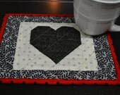 Handmade Quilted Heart Mug Rug Black Heart Coffee Mug Rug Coffee Lovers Mug Rug Valentines Mug Rug Snack Mat Coasters