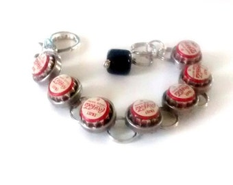 Vintage Coca Cola mini caps 1970,s bracelet repurposed Art Jewelry upcycled recycled assemblage