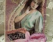 Violet Gypsy ACEO ATC collage art