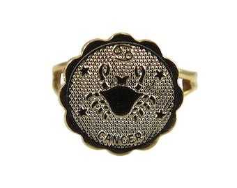 Vintage Gold Plated Astrological Sign Ring - CANCER - one size fits most / adjustable (1x) (J633-D)