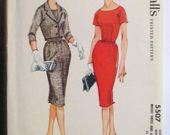 1960s Vintage Sewing Pattern McCalls 5507 Misses Dress & Jacket Pattern Size 16 Bust 36 Uncut