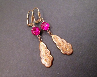 Rhinestone Earrings, Hot Pink Glass Stones, Brass Drop Pendants, Long Dangle Earrings, FREE Shipping U.S.