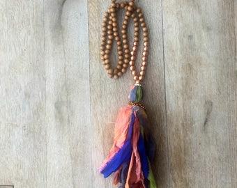 Metallic Copper and Terra Cotta Color block Wood and Silk Sari Tassel BoHo Inspired Necklace