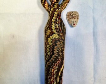 10 in. Little Weird Funky Lady Goddess Fabric fantasy art doll form w/face cab You finish her Bead Decorate
