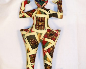 The JOKER is WILD fantasy cloth art doll form w/face cab 10 1/2 in. You finish it Bead Decorate