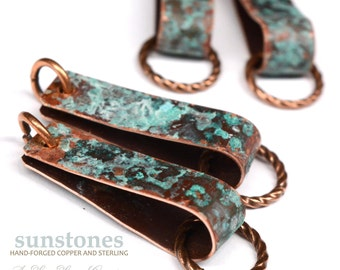 Hand Forged Rustic Copper Earring Components - DIY jewelry making components EC339