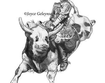 Bull Rider, Cowboy on Bull, Rodeo, Original Pencil Drawing Instant Download Print Your Own, Western Art, Sport, Competition, Eight Seconds