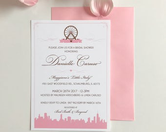 Chicago Skyline & Navy Pier Ferris Wheel Bridal Shower Invitation