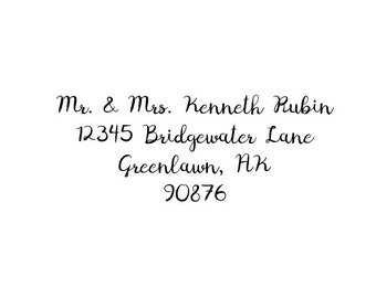 Custom Calligraphy Return address rubber stamp