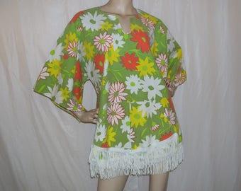 Glamping Dashiki Tunic Flower Power Green Orange Yellow Floral Cruise Dress Angel Wing Resort Boho Hippie Fringe Tunic Roo Pocket Adult S-XL