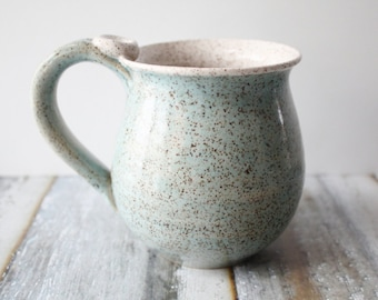 Pale Blue Pottery Mug - speckled clay - 14 oz Coffee Cup - Ready to Ship Ceramic Cup