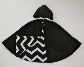 Girls Cape, Boys Cape, Black Cape with Chevron Lining, Girls Capelet, Boys Cloak, Poncho, Hooded Cape, Jacket, Winter Coat, Size  9/10
